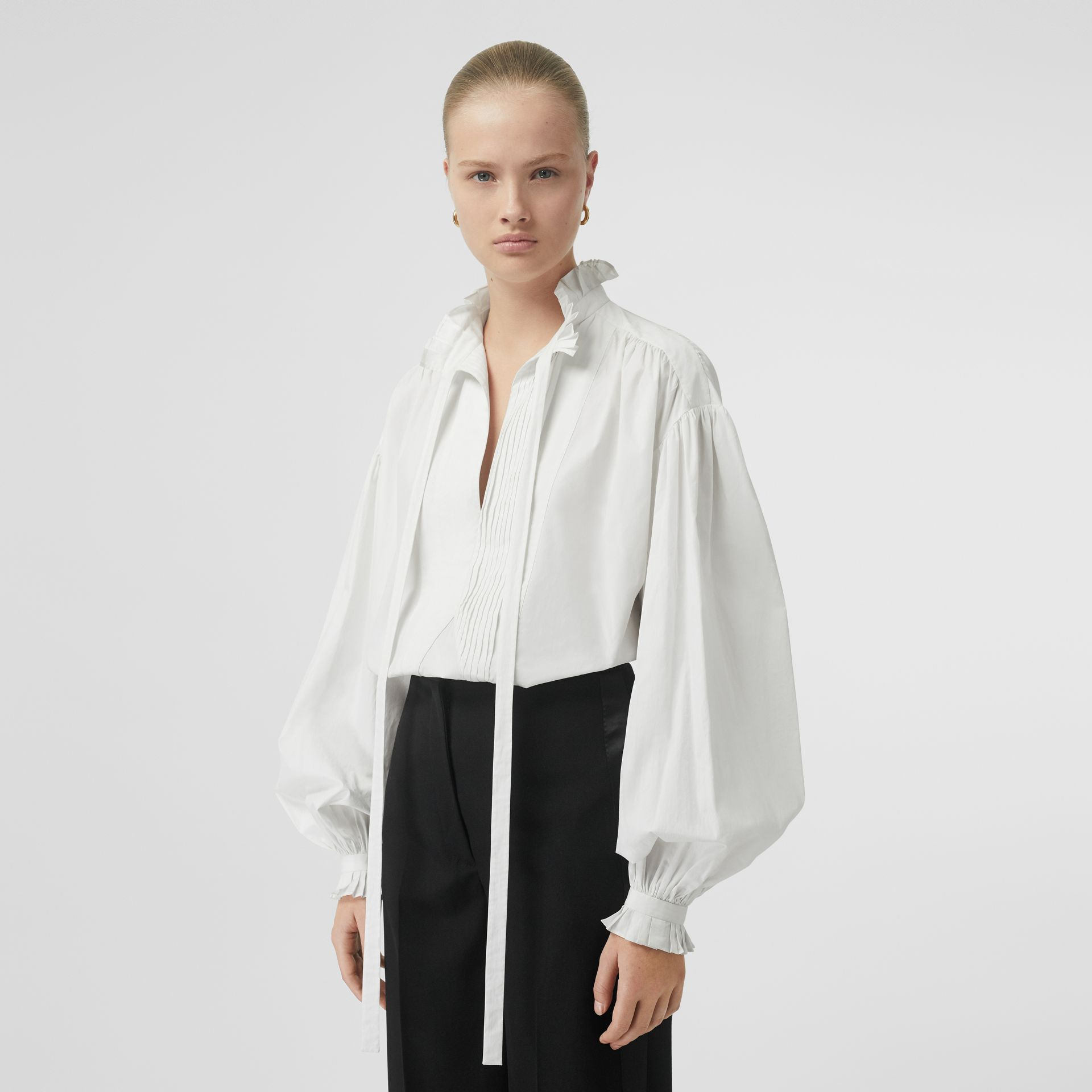 Puff-sleeve Cotton Tie-neck Blouse in White - Women | Burberry Canada - gallery image 4