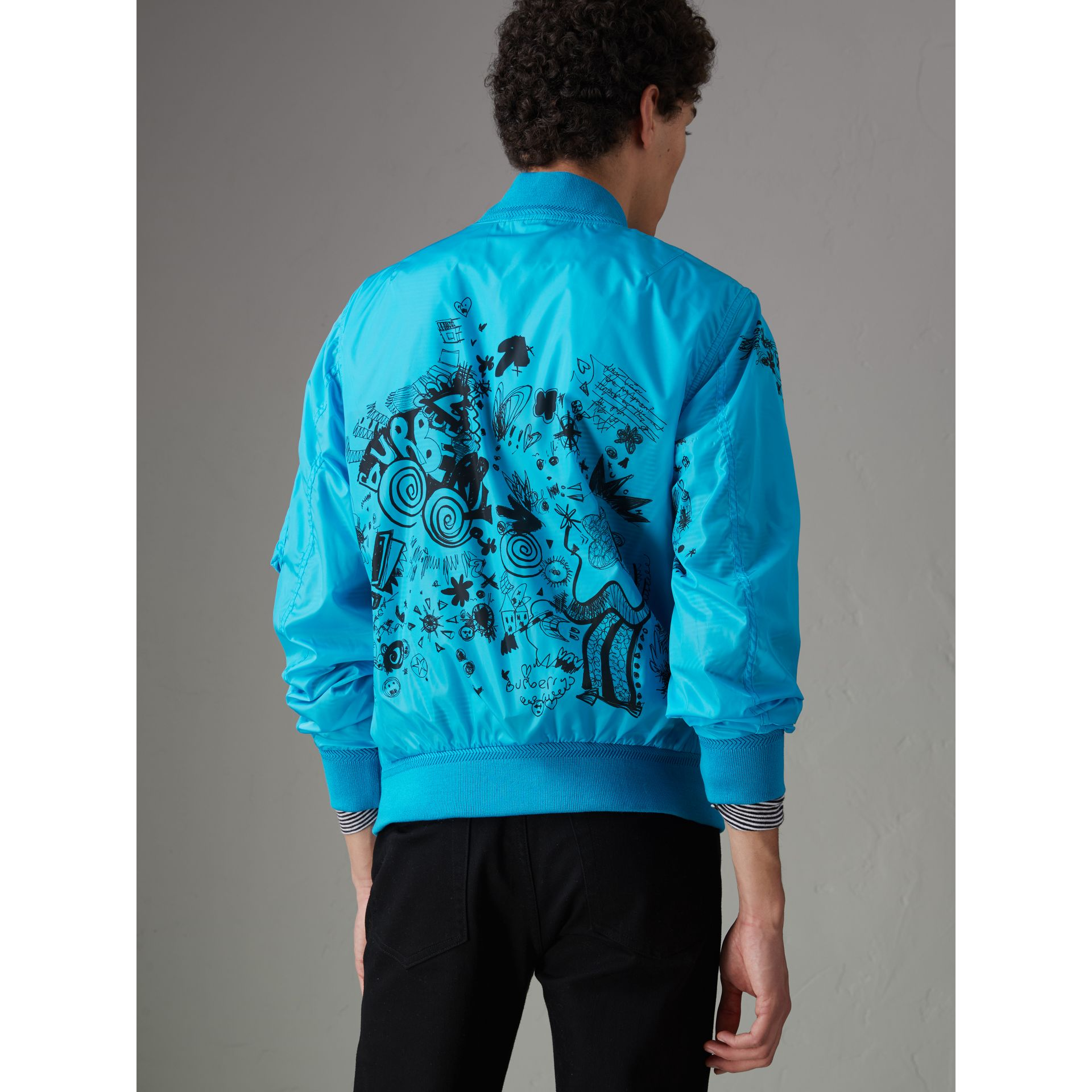 Doodle Print Bomber Jacket in Bright Blue - Men | Burberry United States - gallery image 2
