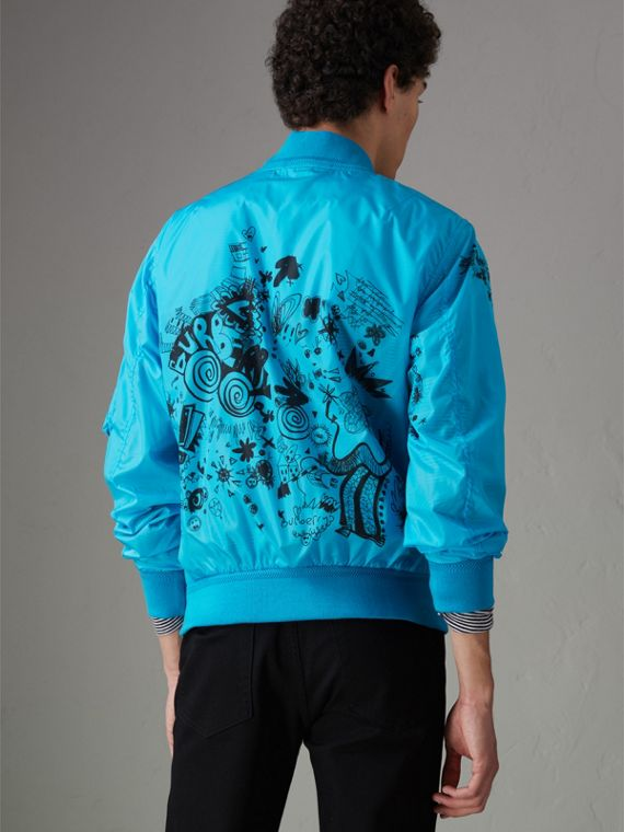 Doodle Print Bomber Jacket in Bright Blue - Men | Burberry - cell image 2