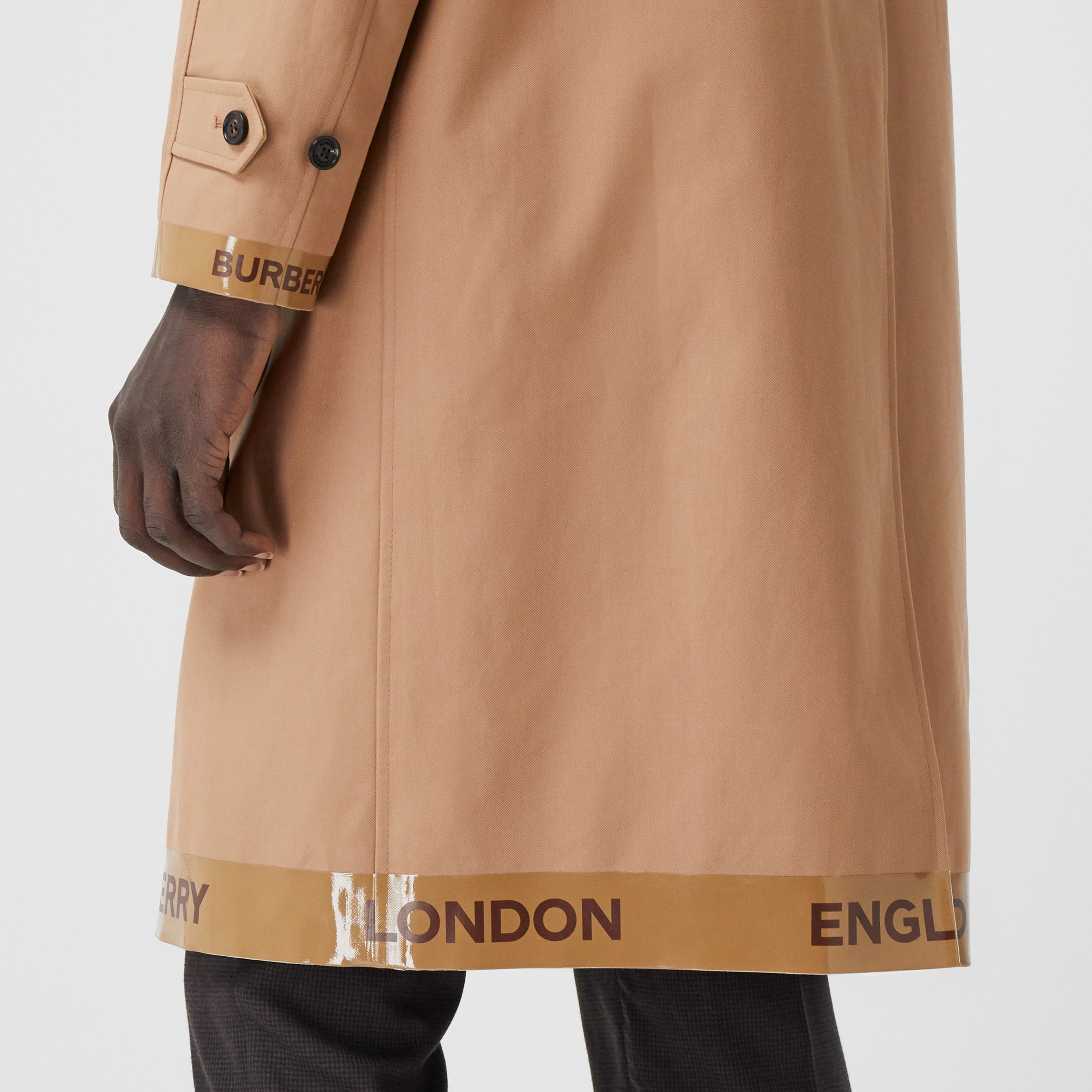 Logo Tape Cotton Car Coat in Warm Walnut - Men | Burberry - 2