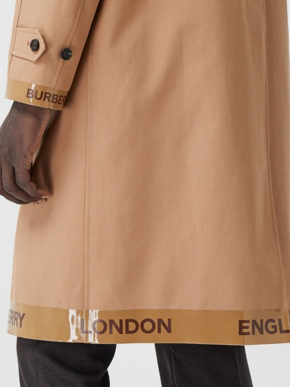 Logo Tape Cotton Car Coat in Warm Walnut - Men | Burberry - cell image 1