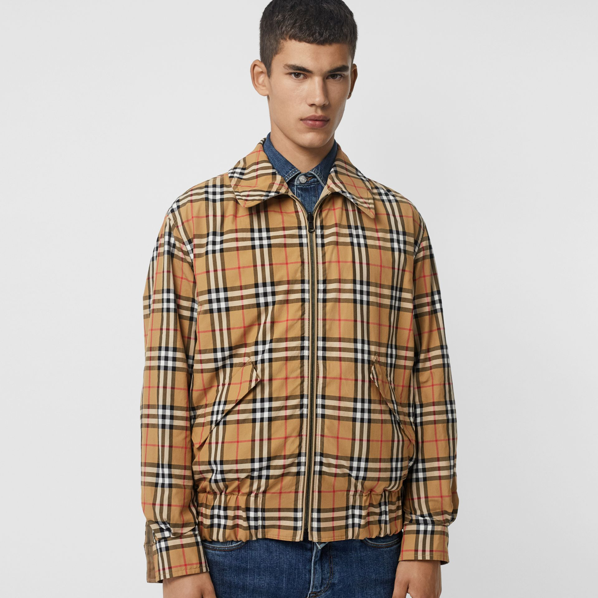 Reversible Gabardine and Check Harrington Jacket in Honey - Men | Burberry United Kingdom - gallery image 1