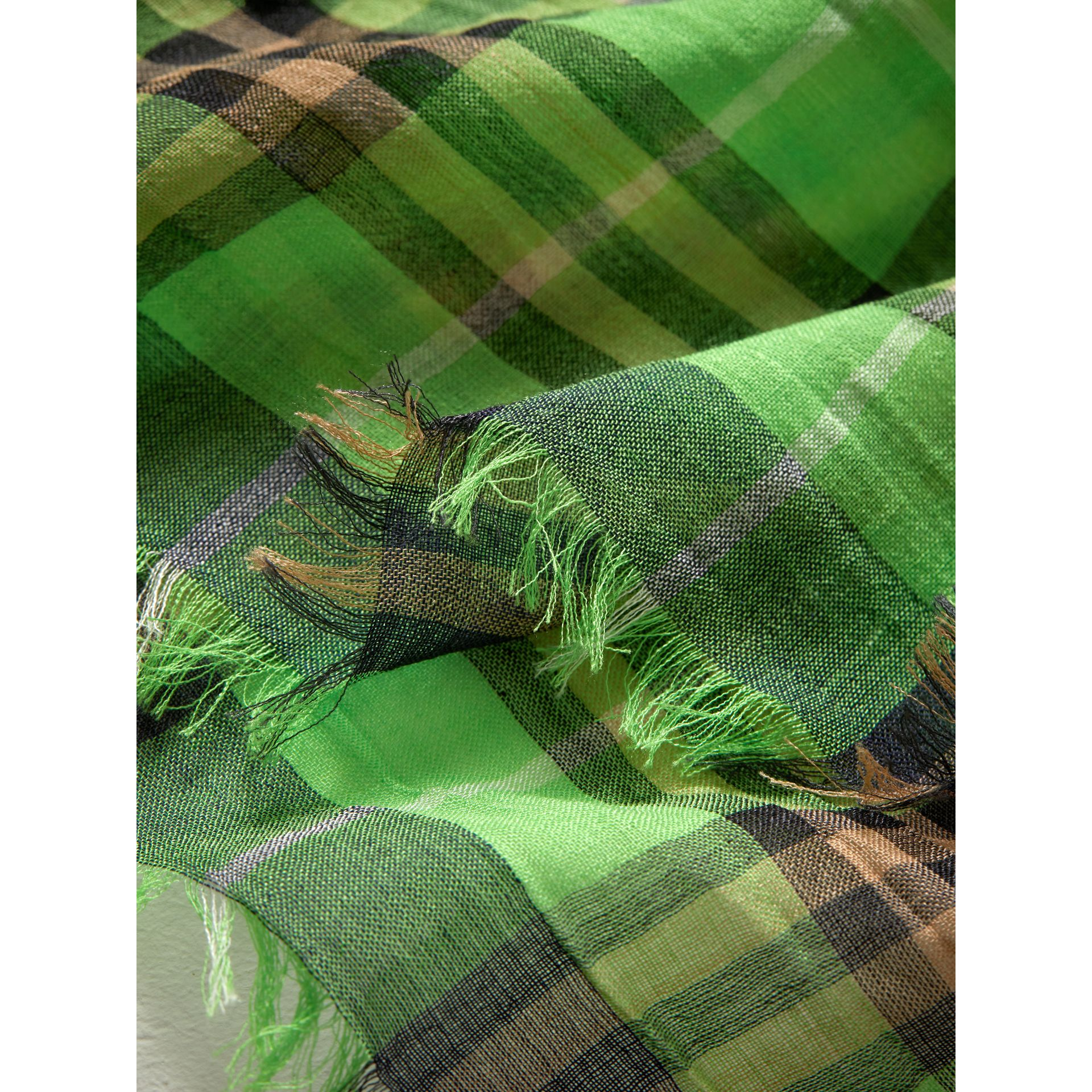 Lightweight Check Wool Silk Scarf in Apple Green | Burberry - gallery image 1