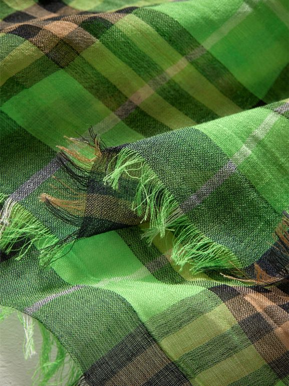 Lightweight Check Wool Silk Scarf in Apple Green | Burberry - cell image 1