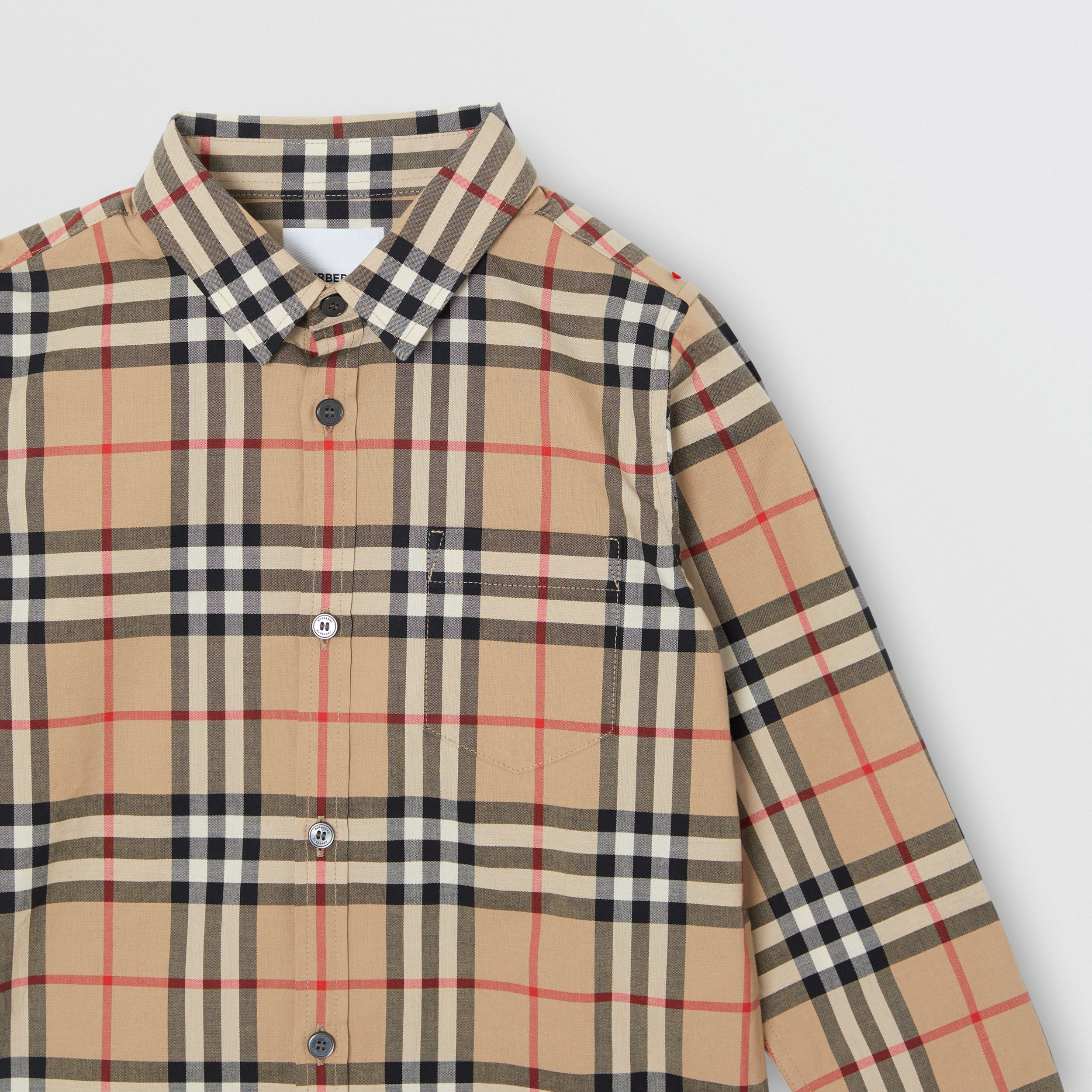 Vintage Check Cotton Poplin Shirt in Archive Beige | Burberry Australia - 4
