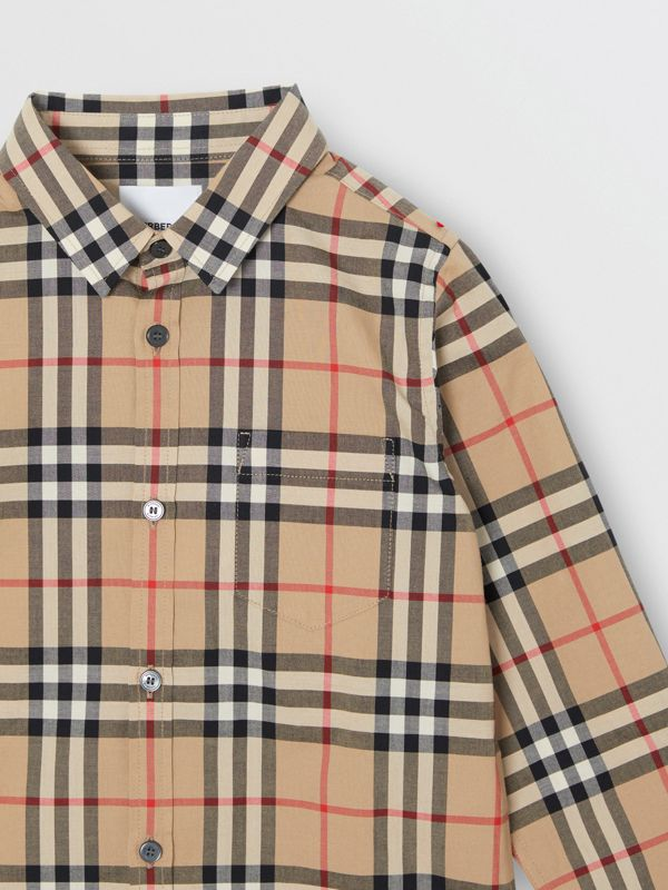 Vintage Check Cotton Poplin Shirt in Archive Beige | Burberry - cell image 3
