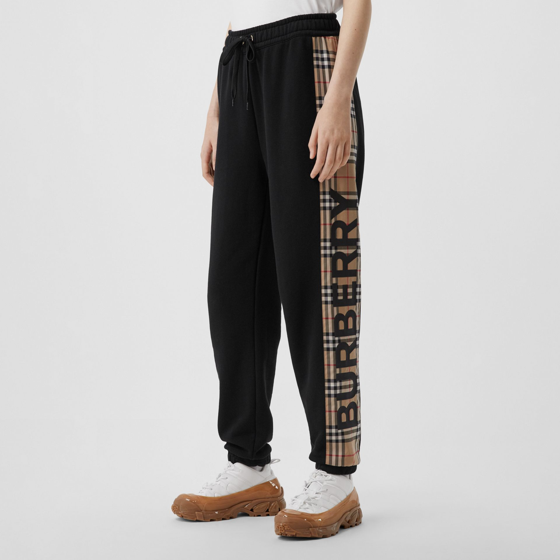 Vintage Check Panel Cotton Trackpants in Black - Women | Burberry United Kingdom - gallery image 4