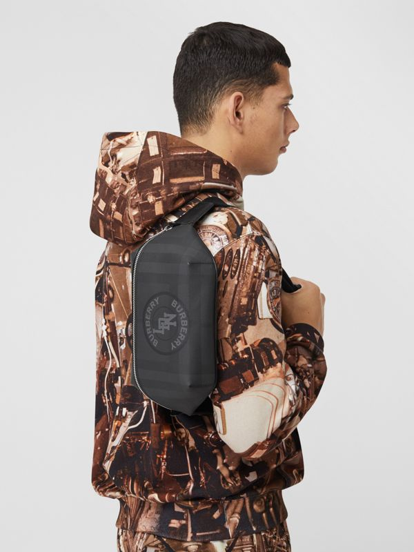 Logo Graphic London Check Sonny Bum Bag in Dark Charcoal - Men | Burberry United Kingdom - cell image 3