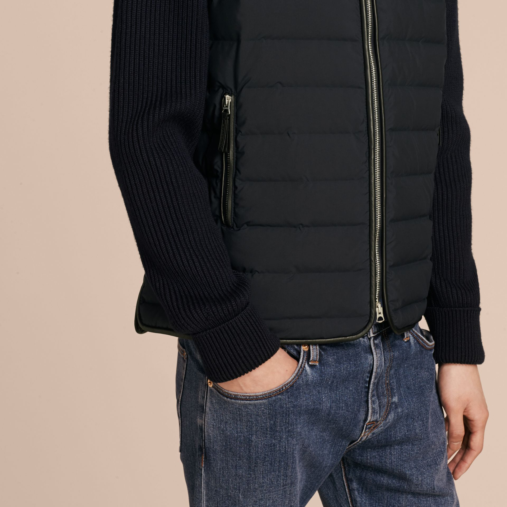 Navy Down-Filled Jacket with Knitted Sleeves - gallery image 6