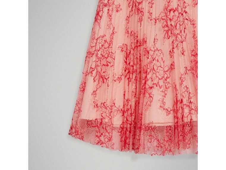 Pleated Lace Skirt in Pale Apricot/coral - Girl | Burberry - cell image 4
