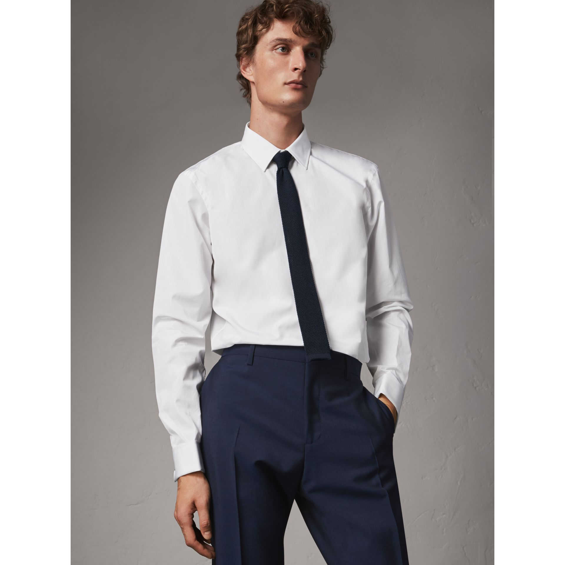 Modern Fit Double-cuff Cotton Poplin Shirt in White - Men | Burberry - gallery image 1