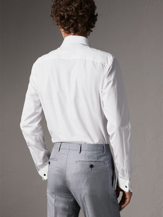 Slim Fit Double-cuff Cotton Poplin Shirt in White - Men | Burberry - cell image 2