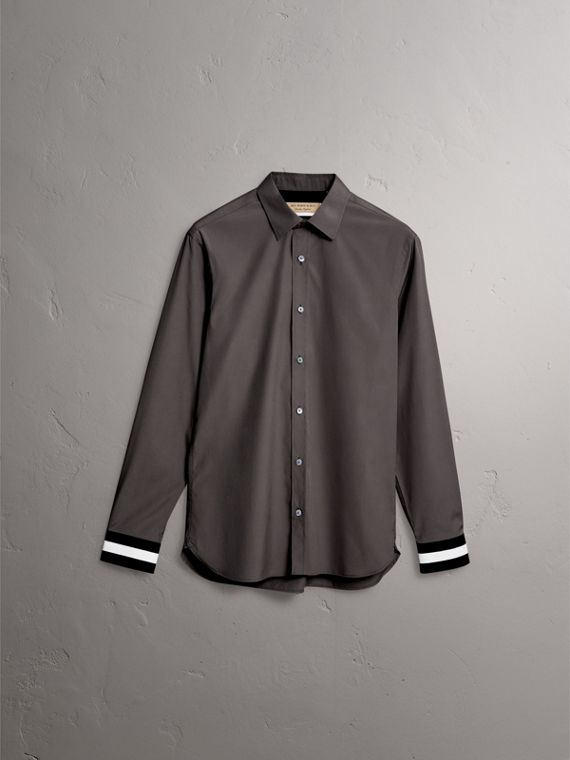 Striped Cuff Stretch Cotton Shirt in Stone Grey - Men | Burberry - cell image 3