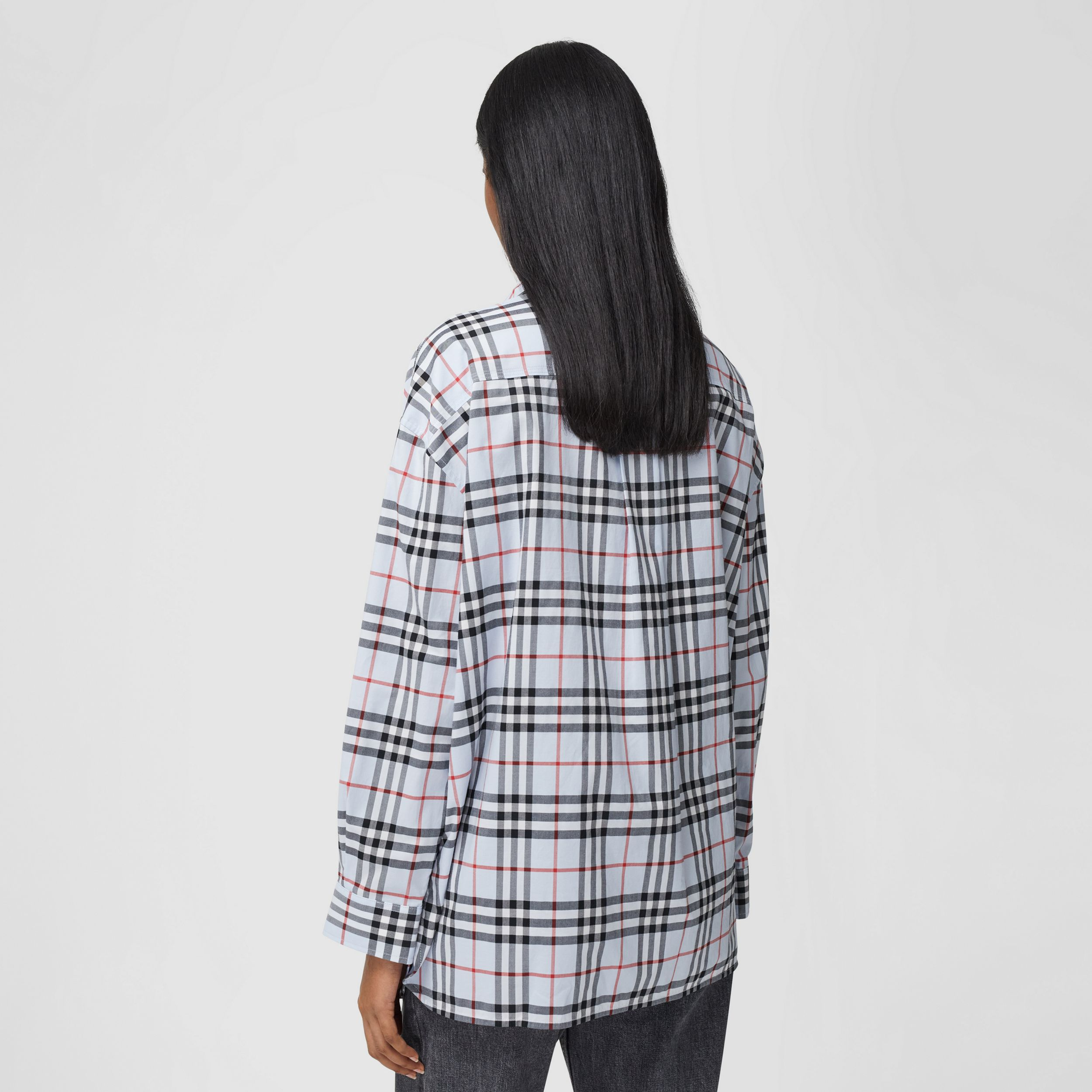 Love Print Vintage Check Cotton Oversized Shirt – Online Exclusive in Pale Blue - Women | Burberry Australia - 3