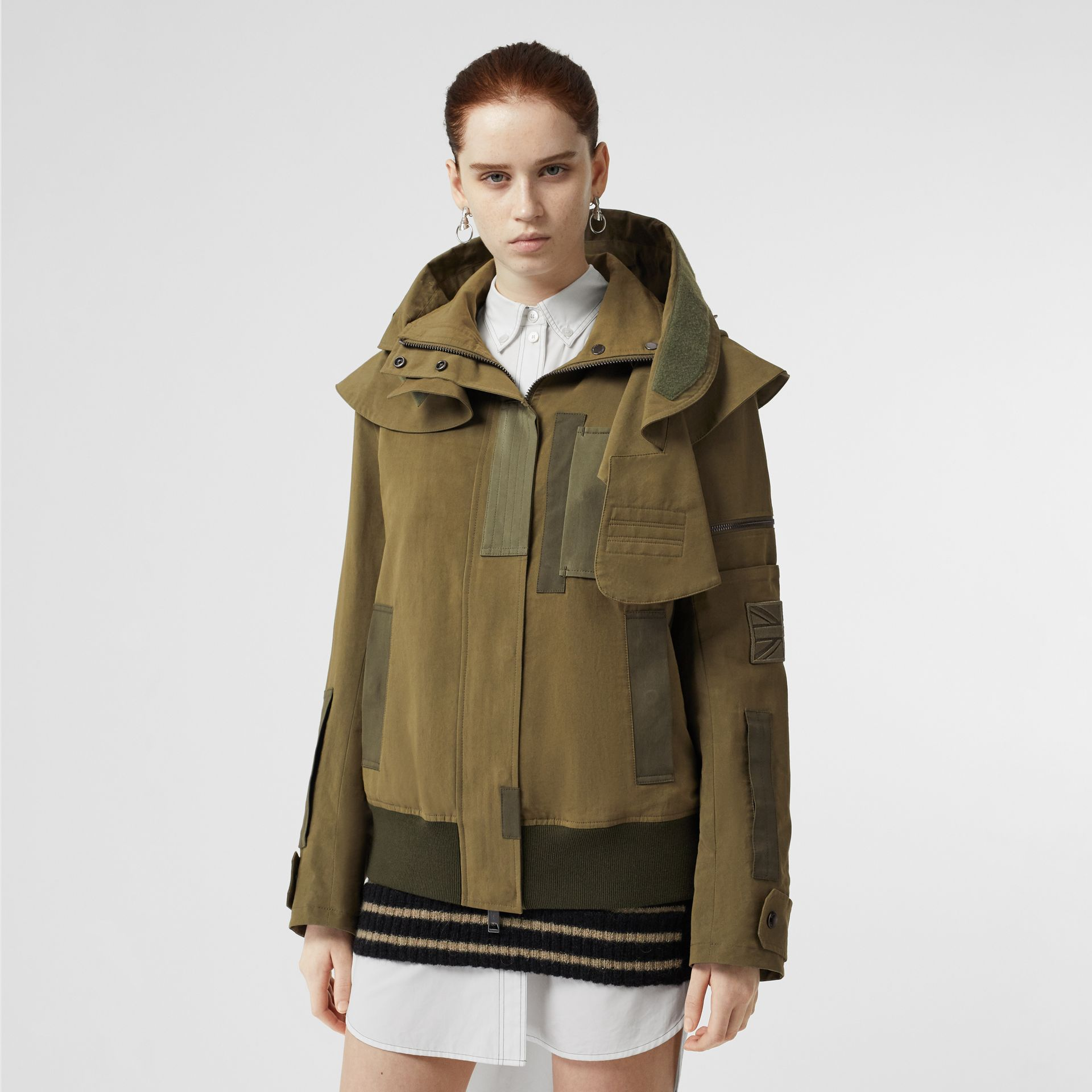 Detachable Hood Cotton Silk Twill Jacket in Khaki Green - Women | Burberry - gallery image 6