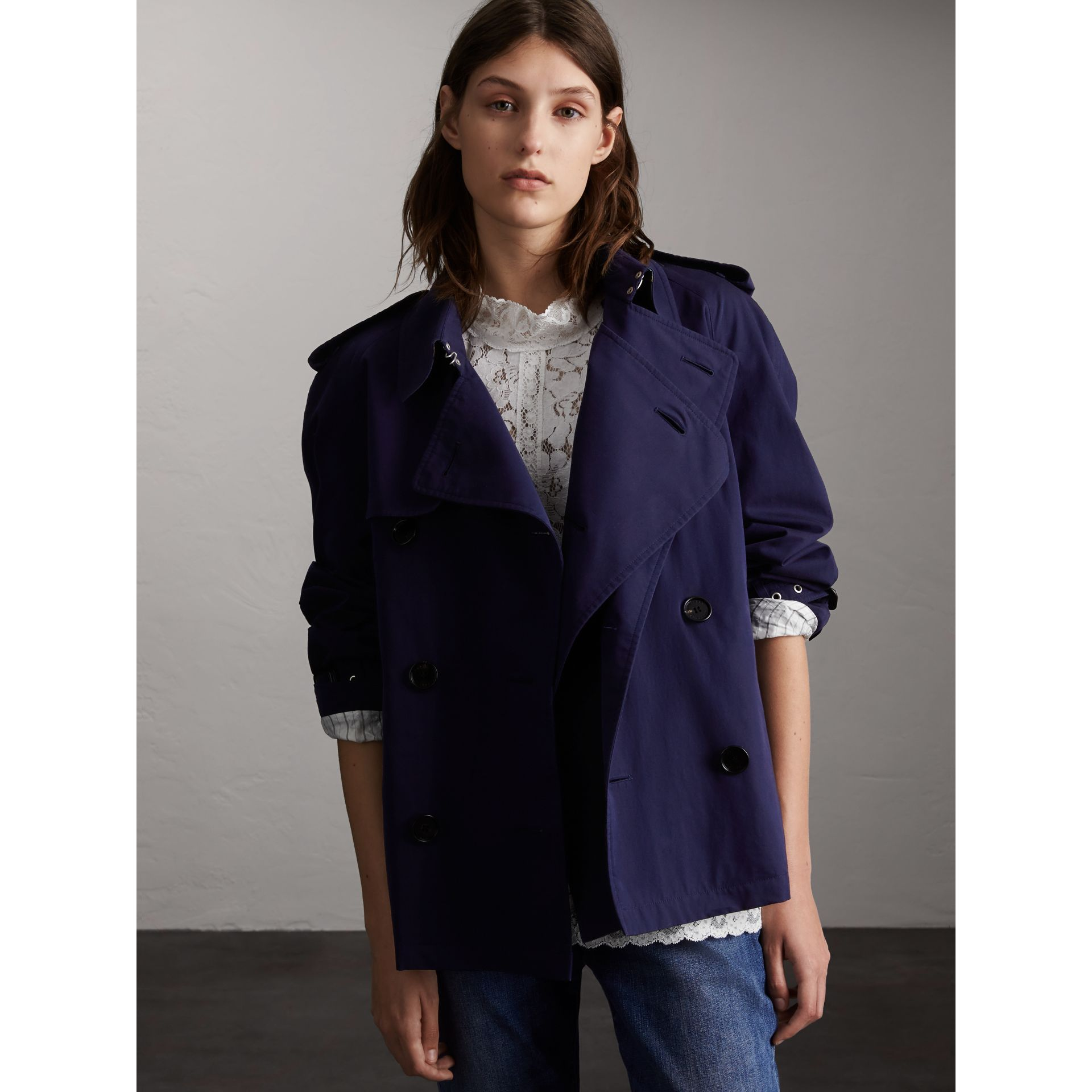 Unisex Tropical Gabardine Trench Jacket in Blueberry - Women | Burberry - gallery image 0