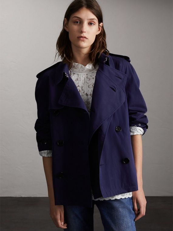 Unisex Tropical Gabardine Trench Jacket in Blueberry