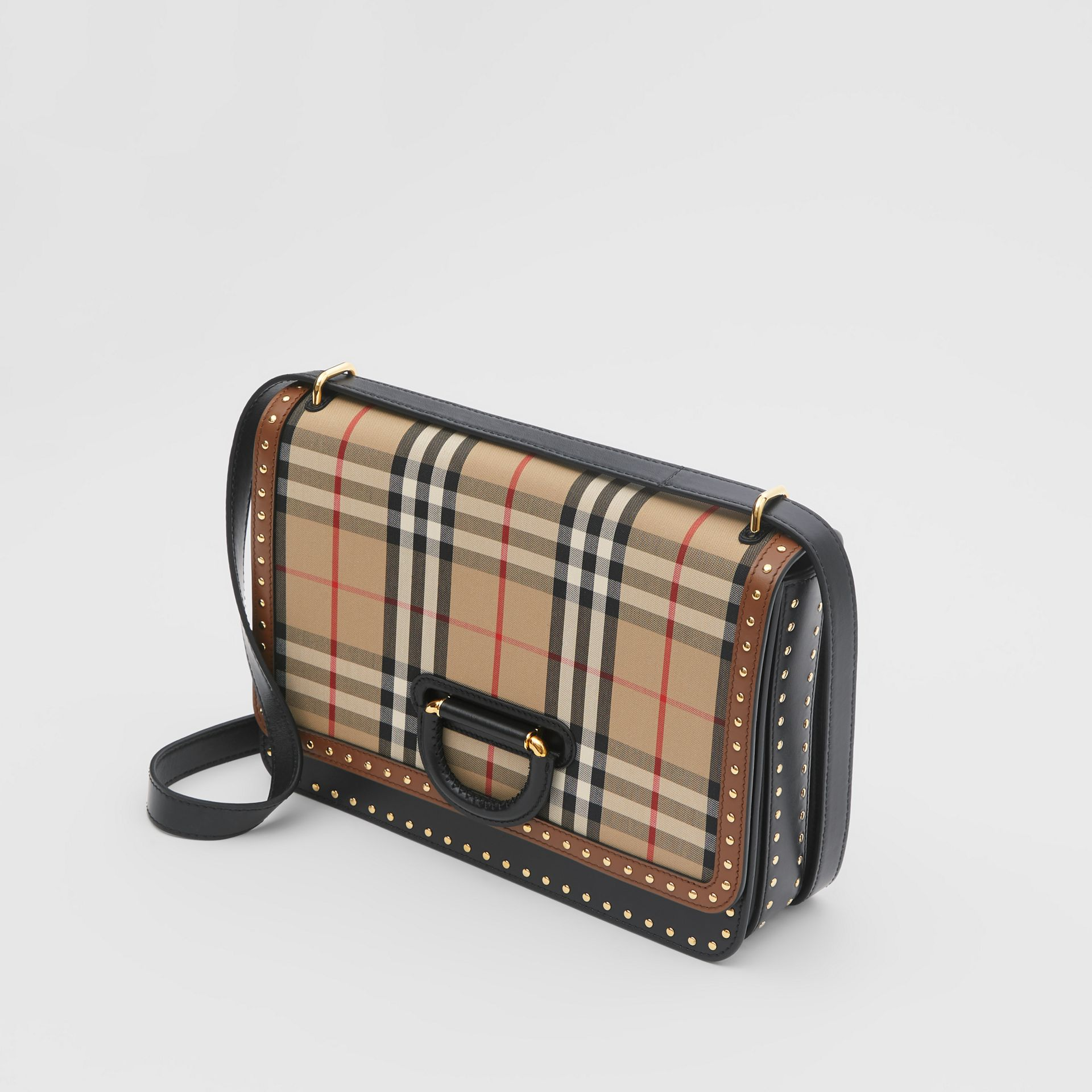 The Medium Leather and Vintage Check D-ring Bag in Archive Beige - Women | Burberry - gallery image 2