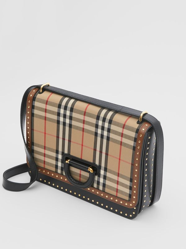 The Medium Leather and Vintage Check D-ring Bag in Archive Beige - Women | Burberry United States - cell image 2