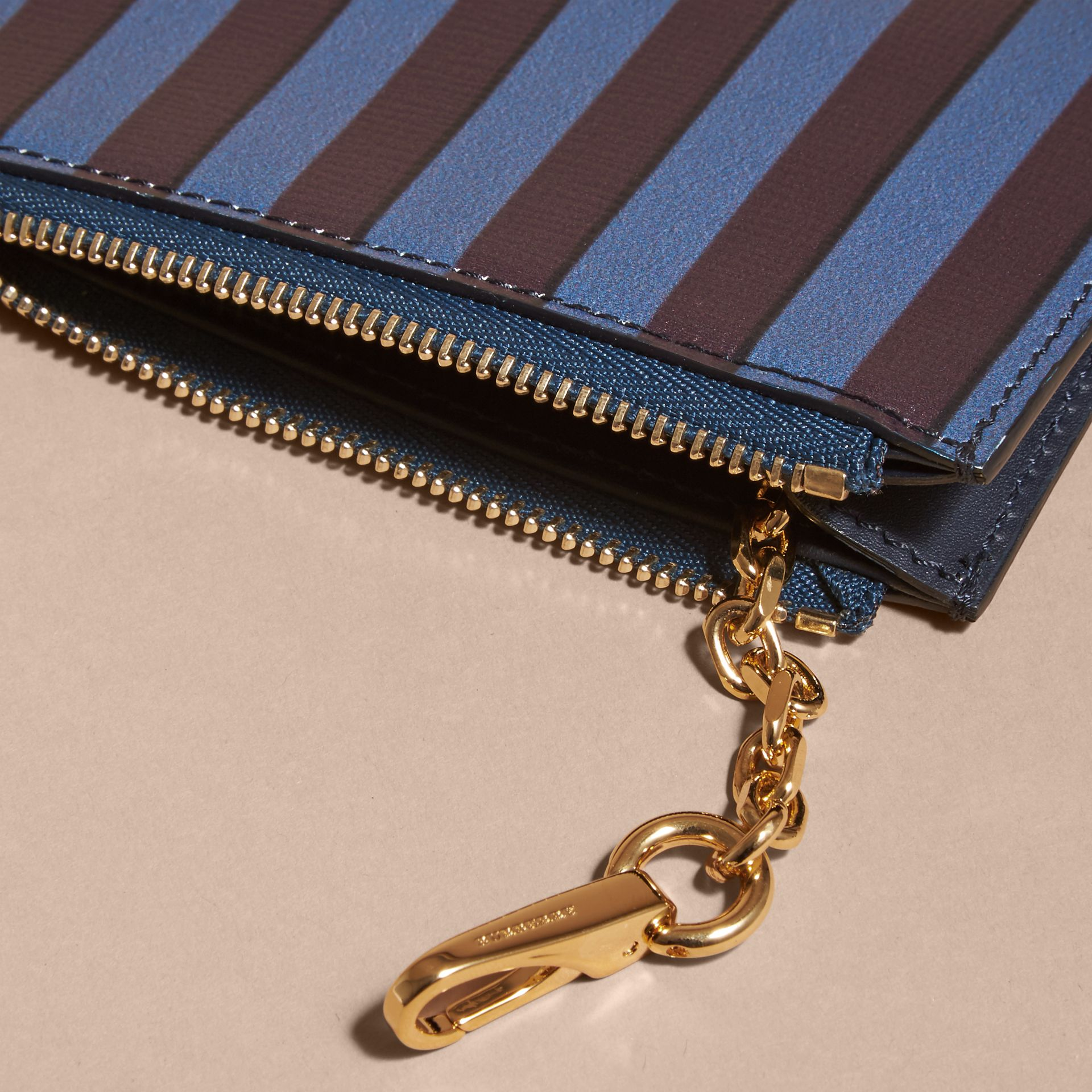 Navy Pyjama Stripe London Leather Zip-top Wallet - gallery image 5