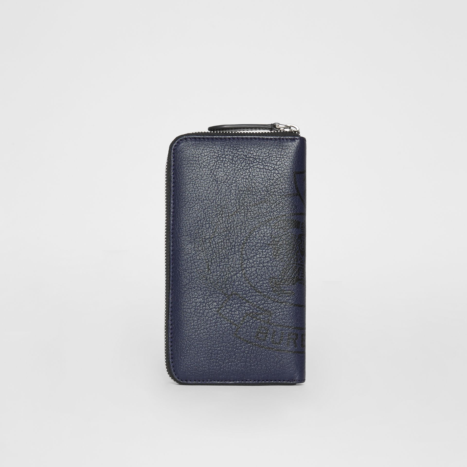Crest Print Leather Ziparound Wallet in Storm Blue - Men | Burberry United Kingdom - gallery image 5