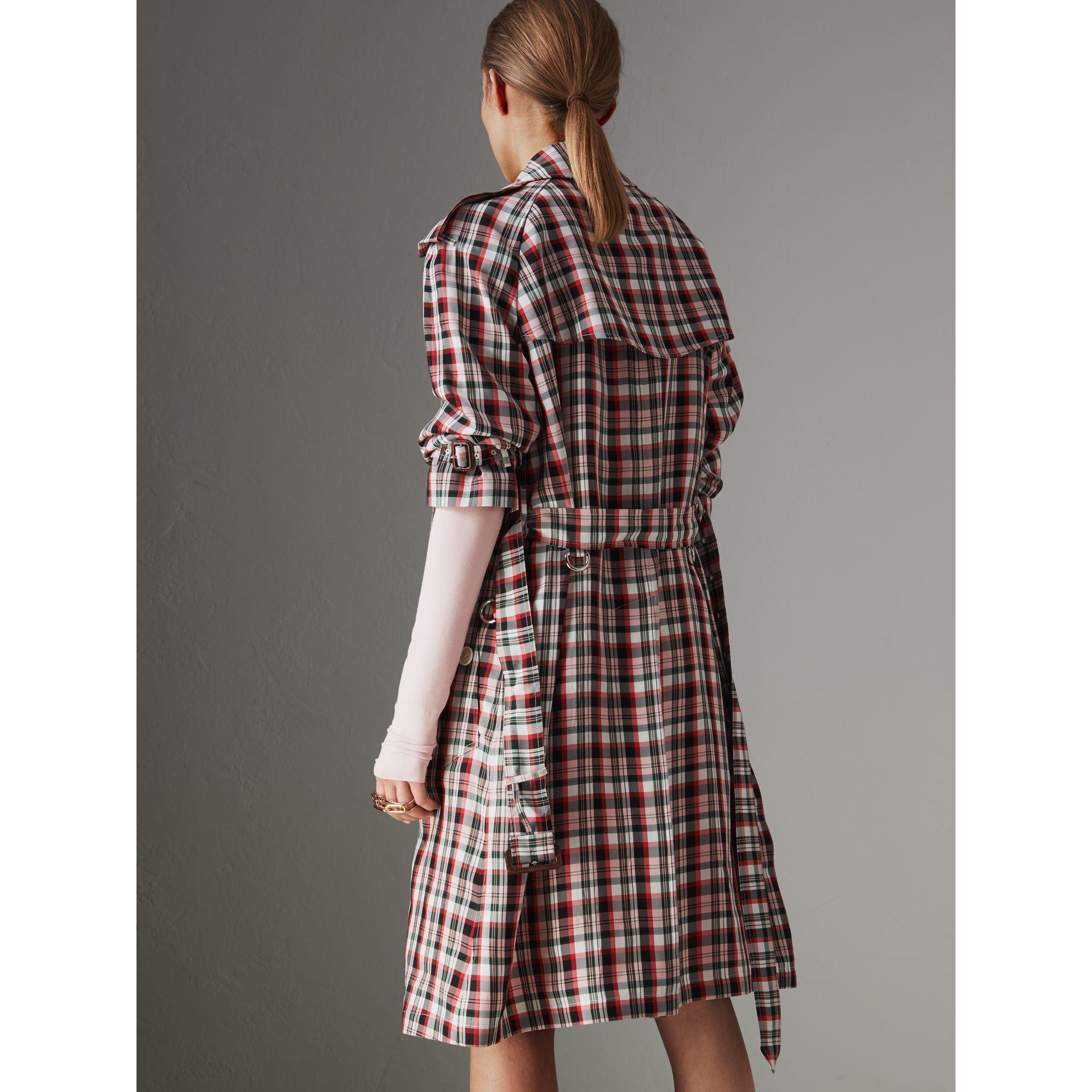 Relaxed Fit Check Trench Coat in Bright Red - Women | Burberry Australia - gallery image 2