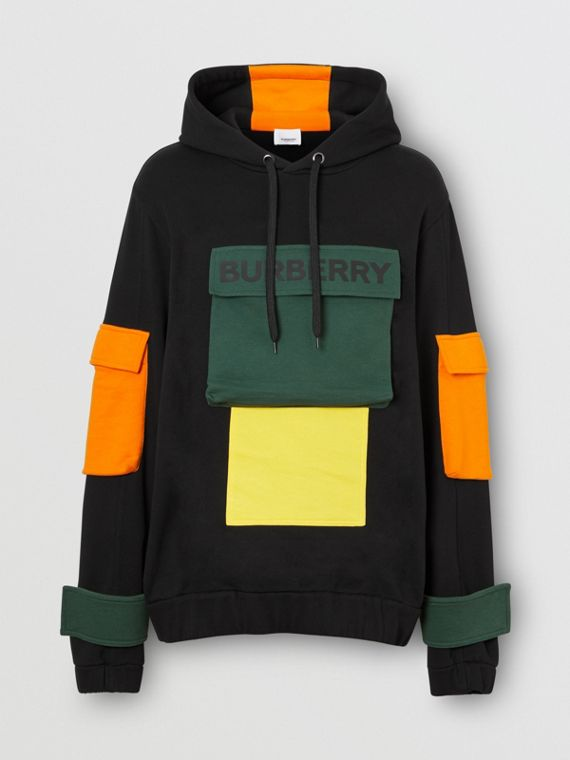 Logo Print Colour Block Cotton Hoodie in Black