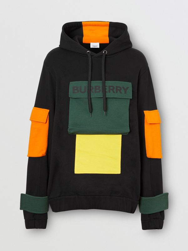 Logo Print Colour Block Cotton Hoodie in Black - Men | Burberry - cell image 3