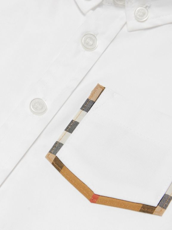 Check Detail Cotton Oxford Shirt in White - Children | Burberry United States - cell image 1