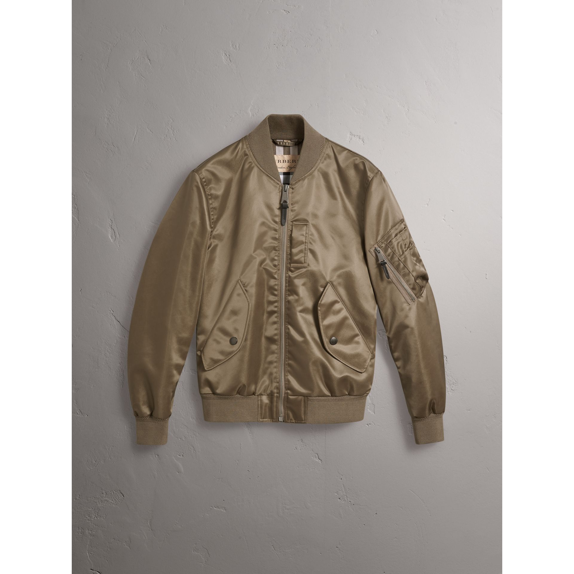 Satin Bomber Jacket in Dark Taupe - Men | Burberry United States - gallery image 3