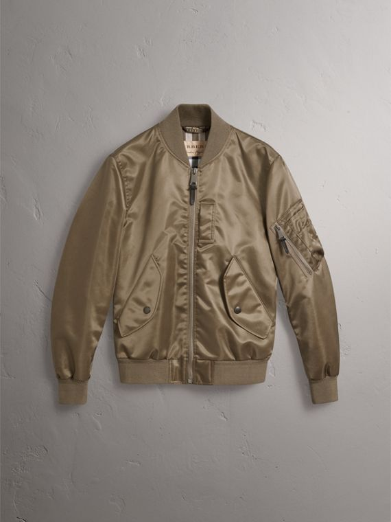 Satin Bomber Jacket in Dark Taupe - Men | Burberry - cell image 3