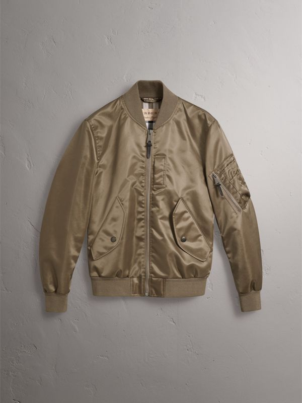 Satin Bomber Jacket in Dark Taupe - Men | Burberry United States - cell image 3