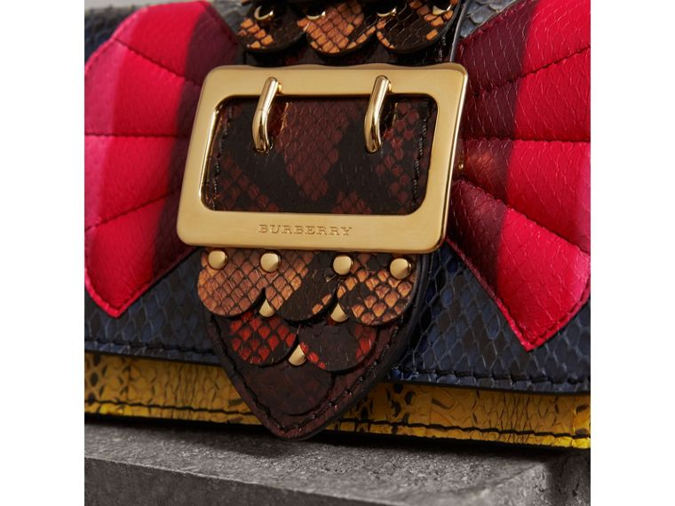 The Small Buckle Bag in Scallop Trim Snakeskin in Yellow - Women | Burberry - cell image 1