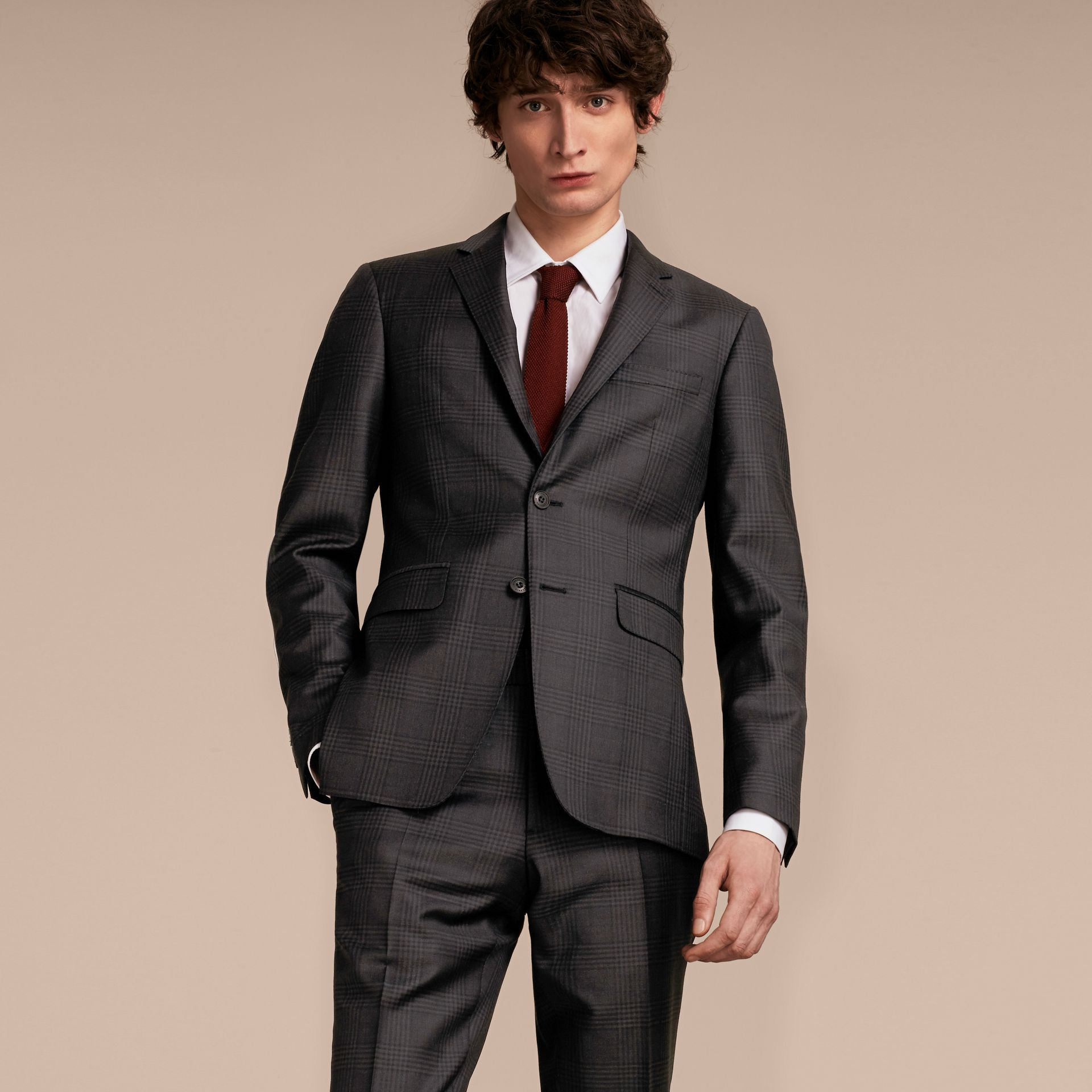 Slim Fit Travel Tailoring Prince of Wales Check Wool Suit - gallery image 8
