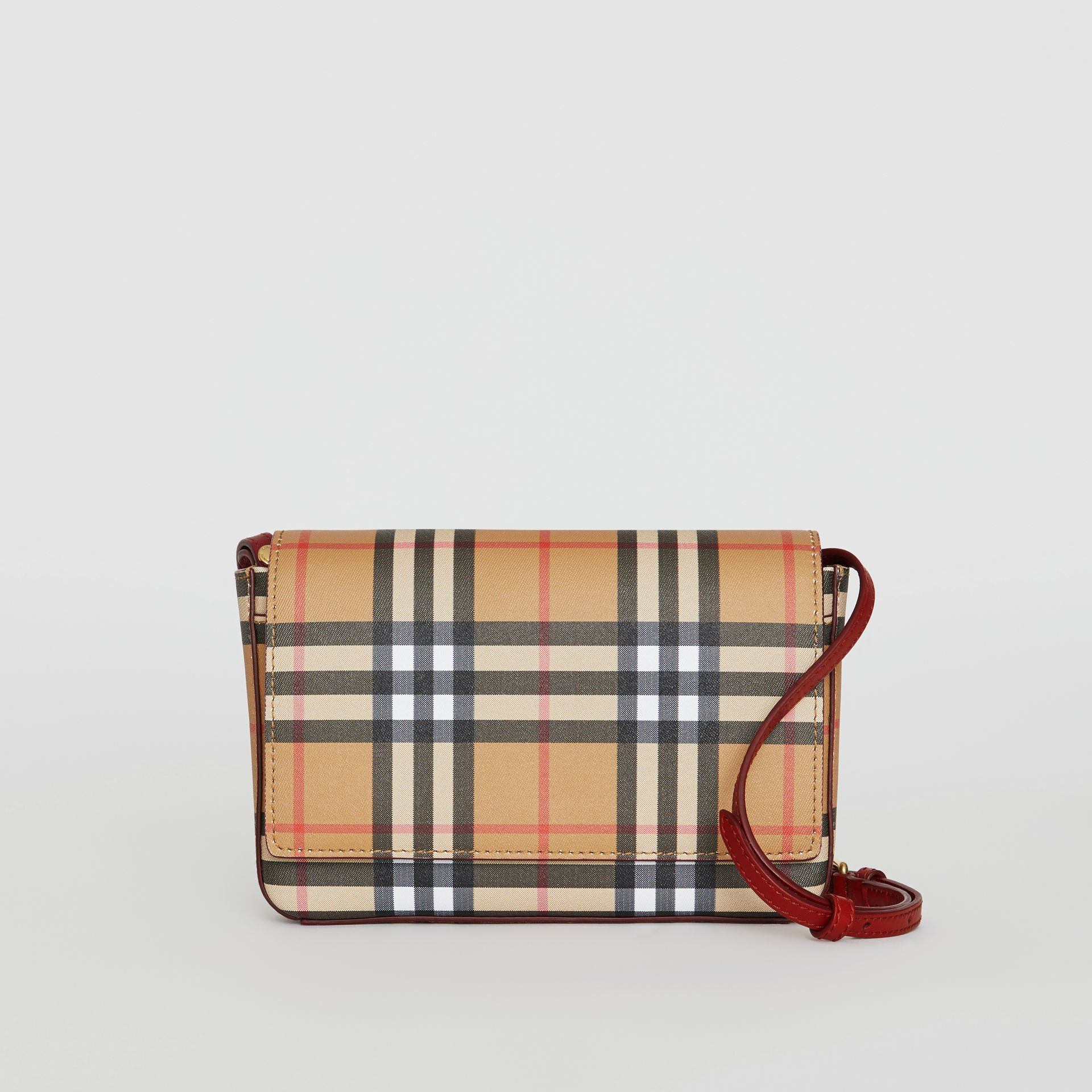 Vintage Check and Leather Wallet with Detachable Strap in Crimson - Women | Burberry United Kingdom - gallery image 0