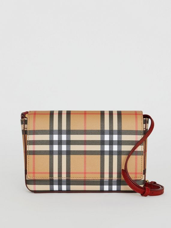 Small Vintage Check and Leather Crossbody Bag in Crimson