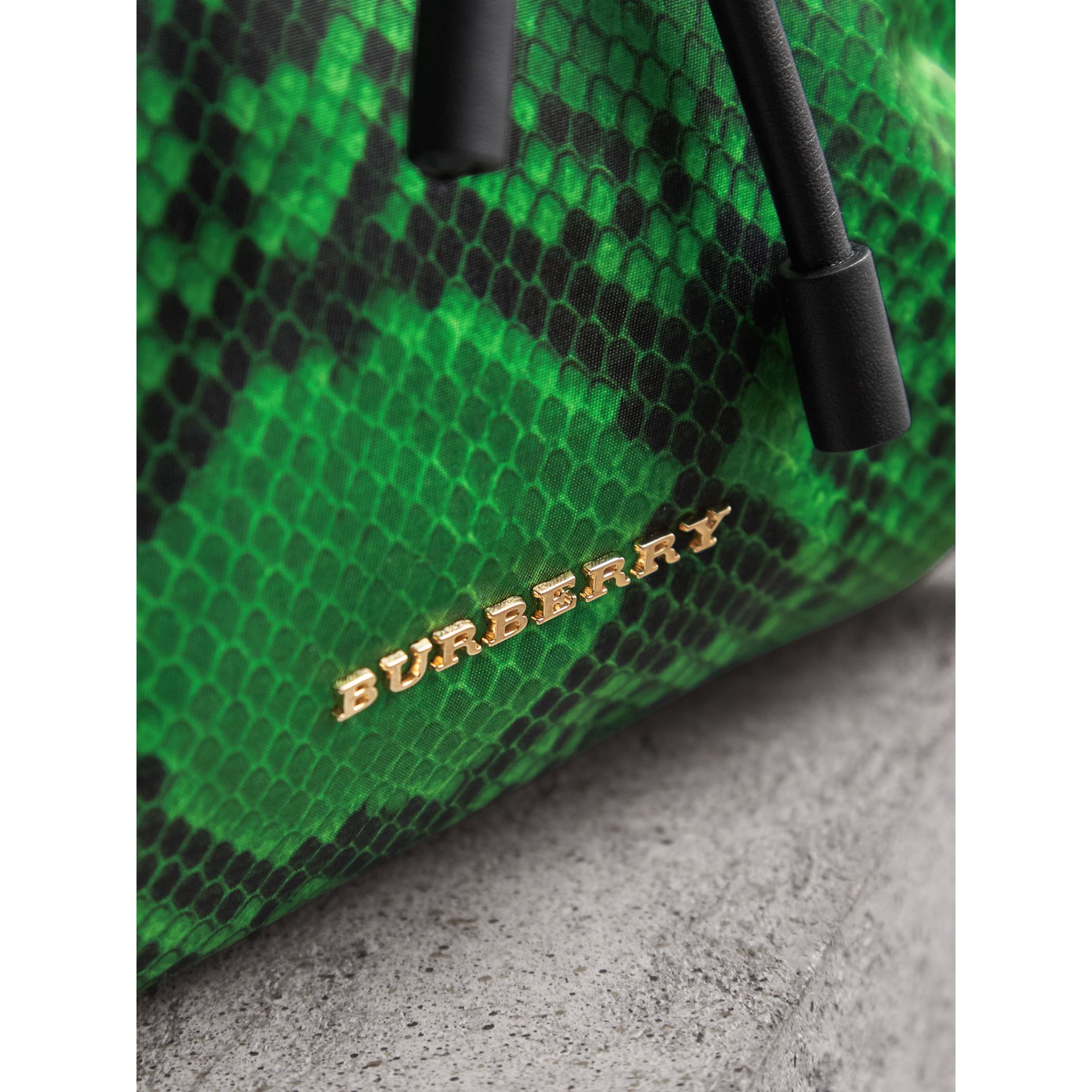 The Large Rucksack in Python Print Nylon and Leather in Green - Women | Burberry - gallery image 6