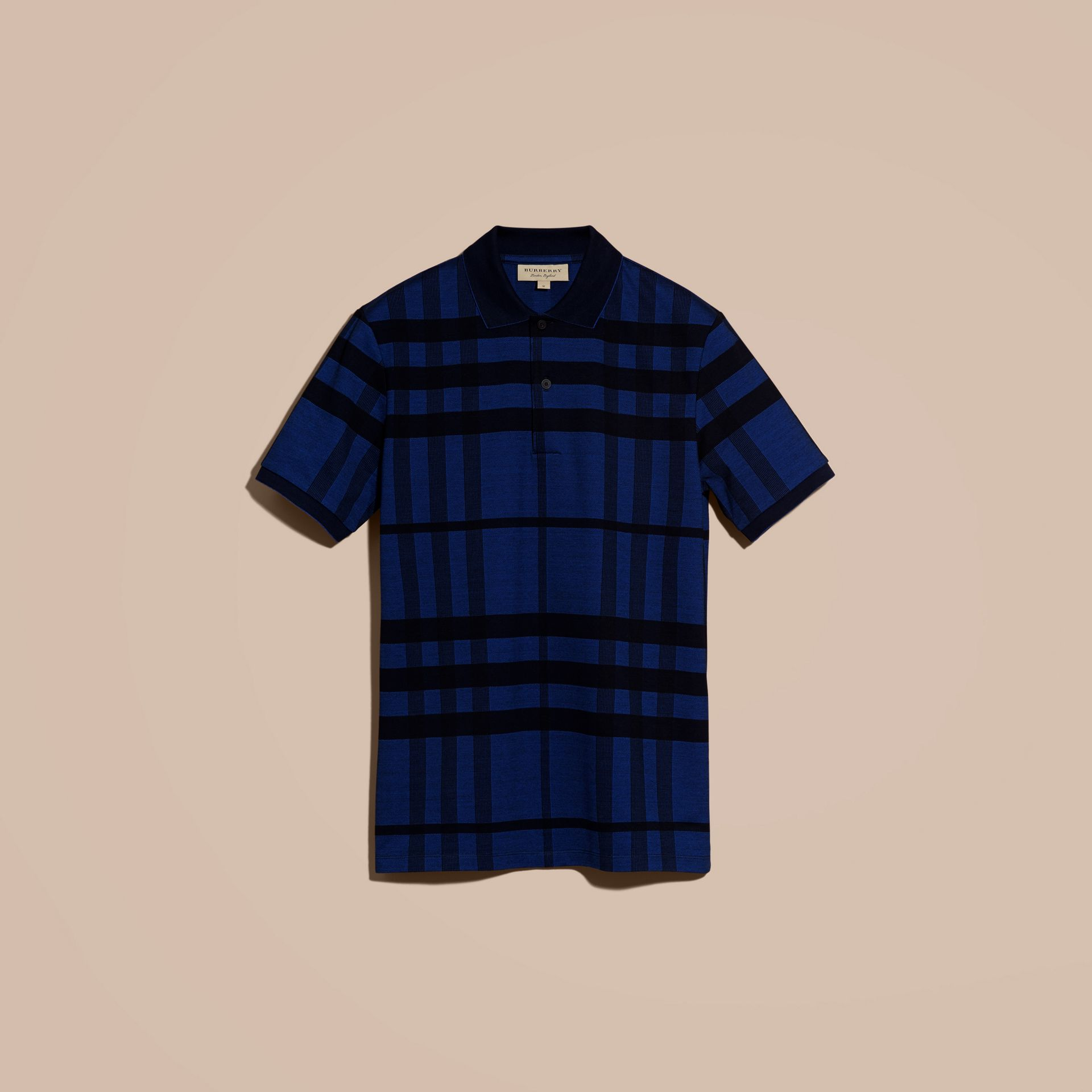 Navy Check Stretch Cotton Polo Shirt Navy - gallery image 4