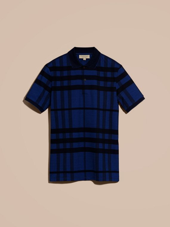 Navy Check Stretch Cotton Polo Shirt Navy - cell image 3