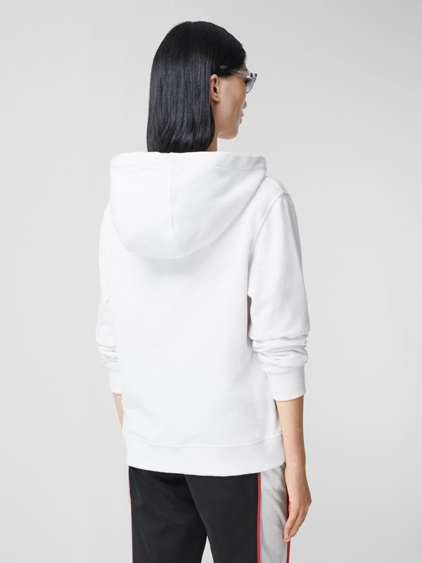 Monogram Motif Cotton Oversized Hooded Top in White - Women | Burberry Canada - cell image 2