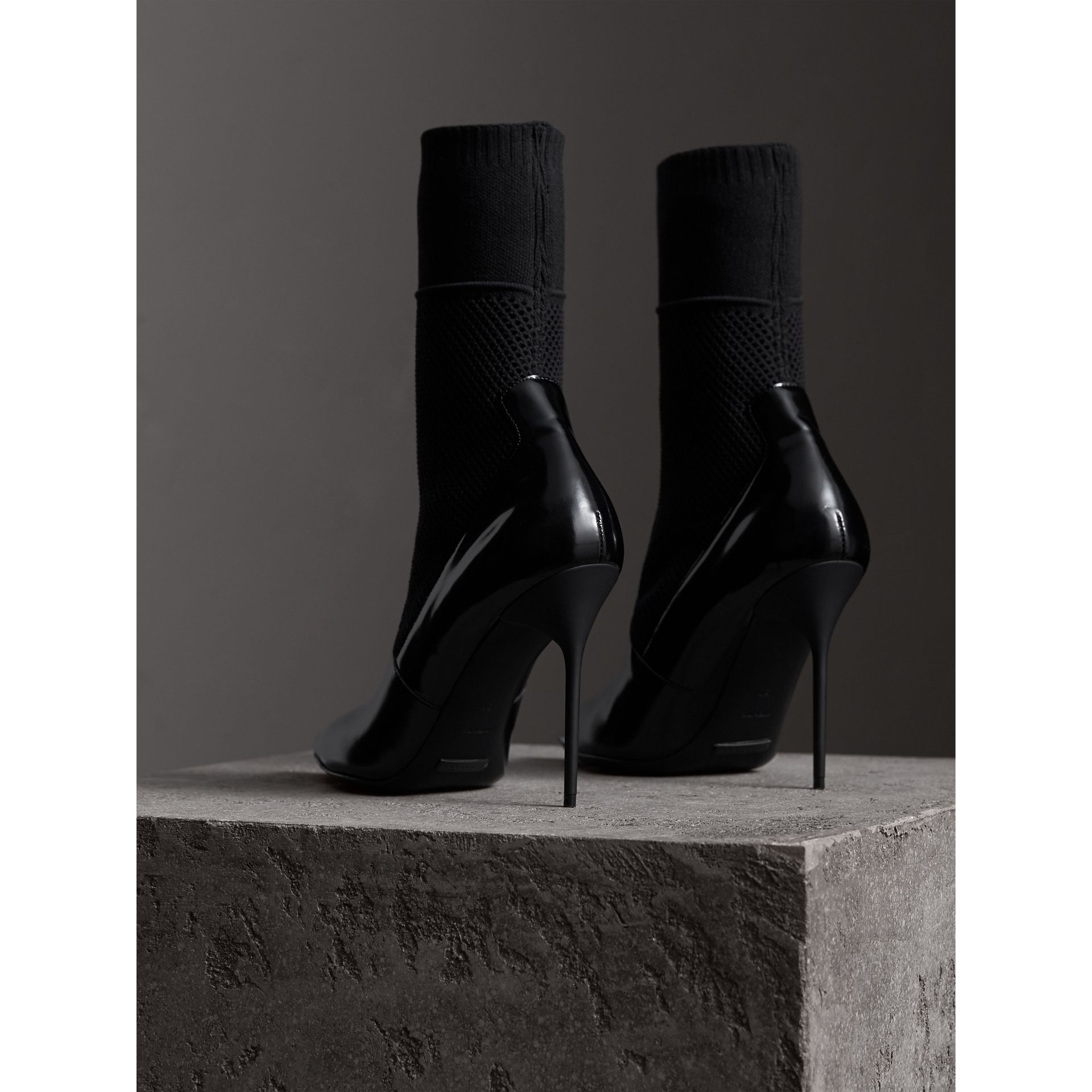 Mid-calf Patent Leather and Knitted Mesh Boots in Black - Women | Burberry United Kingdom - gallery image 4