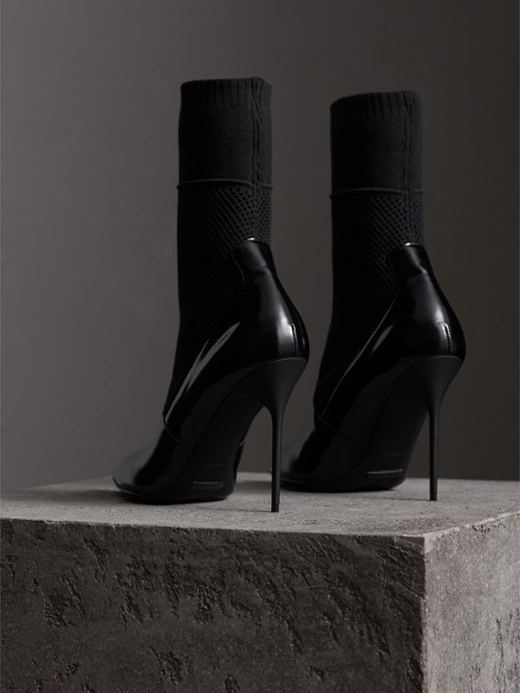 Mid-calf Patent Leather and Knitted Mesh Boots in Black - Women | Burberry Hong Kong - cell image 3