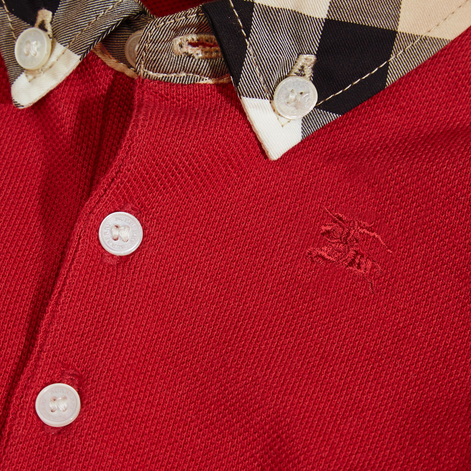 Check Collar Cotton Polo Shirt in Military Red | Burberry - gallery image 2