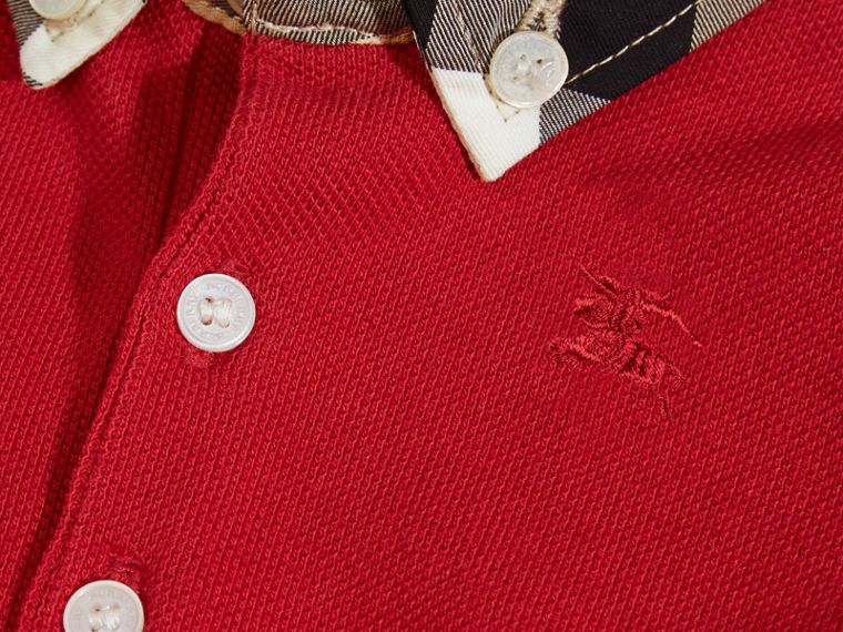 Check Collar Cotton Polo Shirt in Military Red - cell image 1
