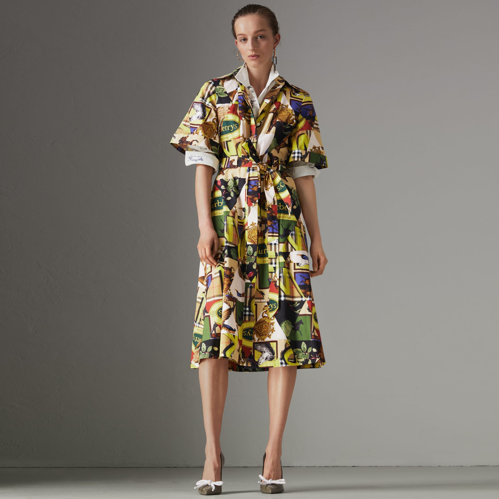 Graffitied Archive Scarf Print Shirt Dress in Bright Yellow - Women | Burberry United States - gallery image 0