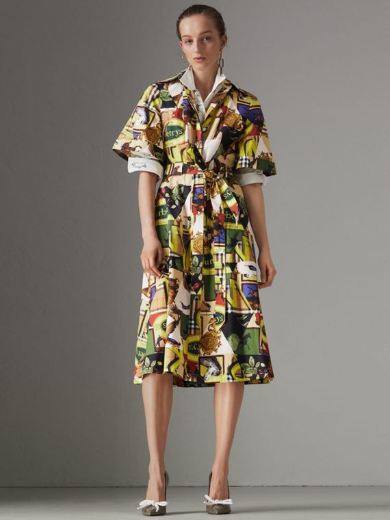 Graffitied Archive Scarf Print Shirt Dress in Bright Yellow