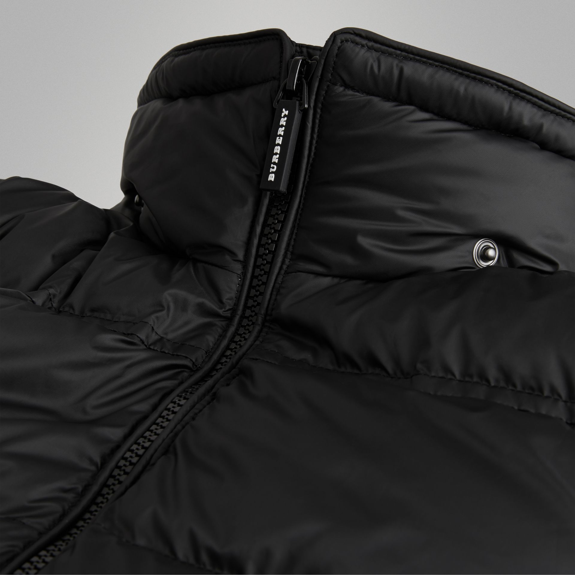 Detachable Hood Down-filled Puffer Coat in Black | Burberry Australia - gallery image 1