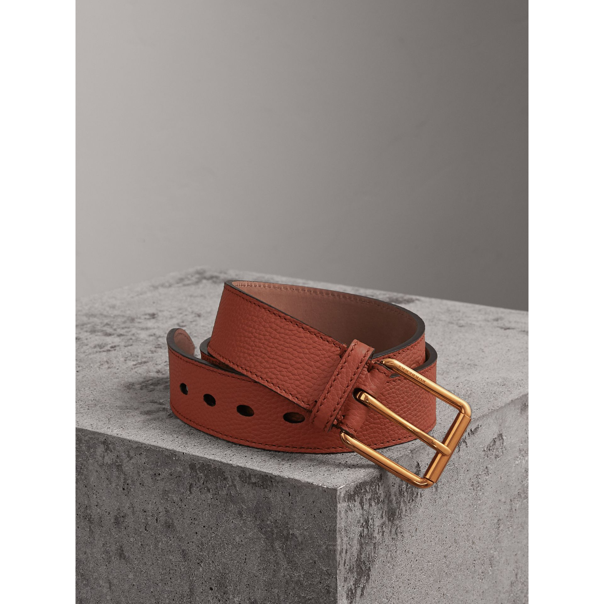 Grainy Leather Belt in Chestnut Brown - Men | Burberry United Kingdom - gallery image 0