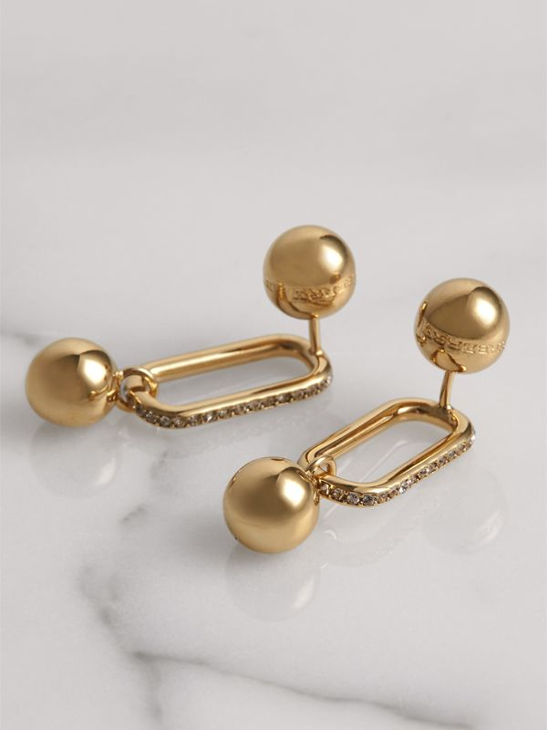 Crystal Charm Gold-plated Drop Earrings in Light Gold/crystal - Women | Burberry Australia - cell image 3