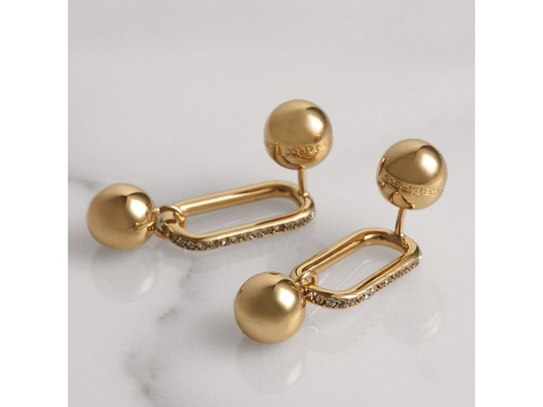 Crystal Charm Gold-plated Drop Earrings in Light Gold/crystal - Women | Burberry United States - cell image 2